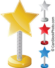 Set of Colorful Star Shaped Text Box on Metal Spring - ...