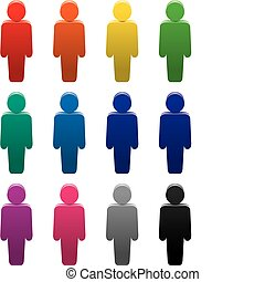 colorful symbols of people