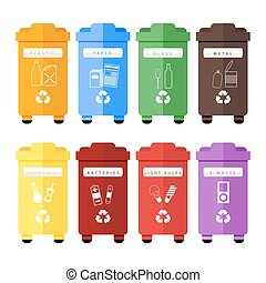 Vector set of colorful trash sorting bins for plastic, paper, glass, metal, organic, batteries, light bulbs and e-waste. Recycling for household and city street, hand sorting method for recycling.