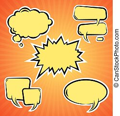 Vector set of comic bubbles Template