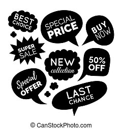 Vector set of comic speech bubbles with sale phrases. Discount card collection, Buy Now, Special Offer, Best Choice etc.