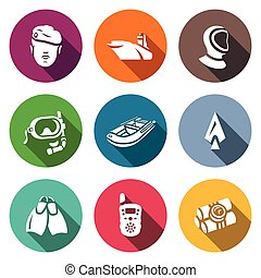 Vector Set of Commandos Icons. Soldier, Ship, Wetsuit,...