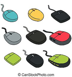 vector set of computer mouse