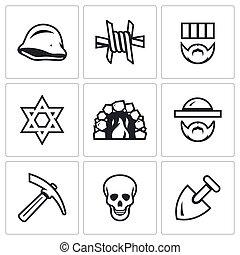 Vector Set of Concentration Camp Icons. German helmet, Barbed Wire, Prisoner, Judaism, Crematorium, Jew, Servitude, Death, Burial.