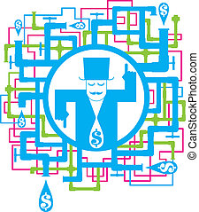 conceptual picture save the water - vector set of conceptual...