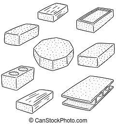 vector set of concrete construction block