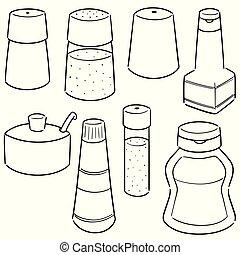 vector set of condiment bottles