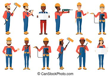 Vector set of constructors and builders characters - Painter...