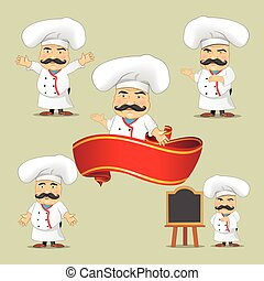 Vector set of cooks in different positions. Cartoon chefs cooking and holding tray with food