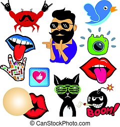 Vector set of cool social media signs and other shiny icons...