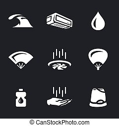 Vector Set of Cooling Icons. - Water, air conditioning,...