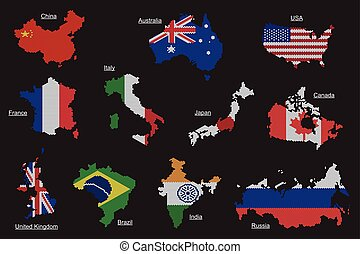 Vector set of countries map flag