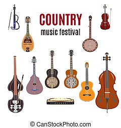 Vector set of country music instruments, flat design.