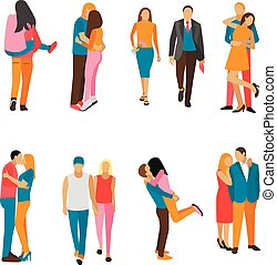 Vector set of couples in love. People characters different situations, poses. Lovers kiss and hug each other.