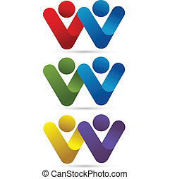 Vector set of couples logo