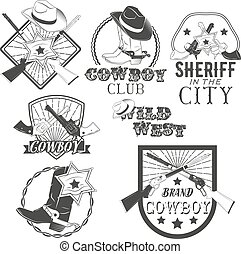 Vector set of cowboy labels in vintage style. Wild west, sheriff, american rodeo. Design elements, icons.