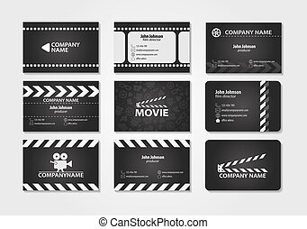 Vector set of creative business cards. Cards for movie, film...