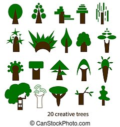 Vector set of creative trees. Icons