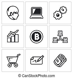Vector Set of Cryptocurrency Icons