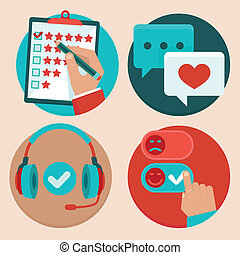 Vector set of customer service in flat style - feedback, ...