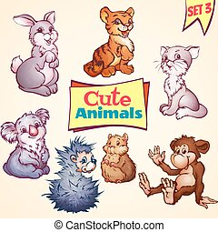 Vector set of cute animals. Cat, hare, koala and etc. -...