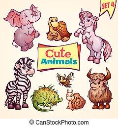 Vector set of cute animals. Elephant, snail, iguana and etc....