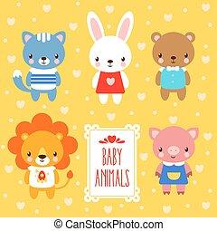 Vector set of cute baby animals.