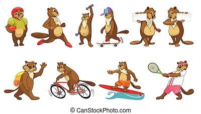 Vector set of cute beavers sport illustrations. - Set of...