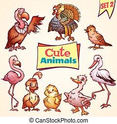 Vector set of cute birds. Turkey, goose, flamingo and etc. -...
