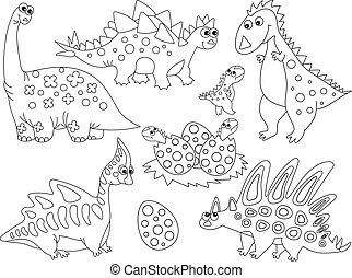 Vector Set of Cute Cartoon Dinosaurs