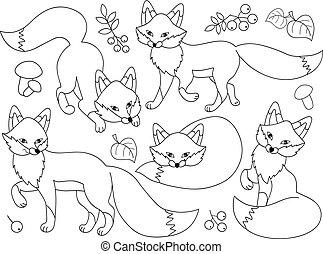 Vector Set of Cute Cartoon Foxes