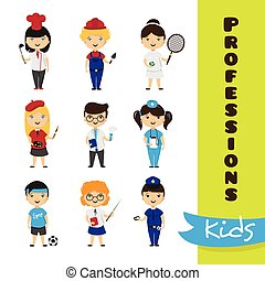 Vector set of cute cartoon kids in different professions. Children professions collection