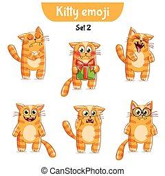 Vector set of cute cat characters. Set 2