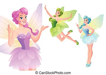 Vector set of cute colorful fairies with butterfly wings. -...