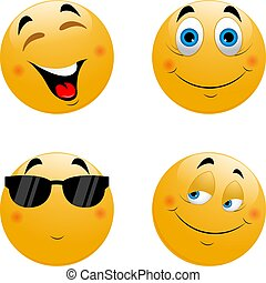 Vector set of cute Emoji icons. Isolated on white background.