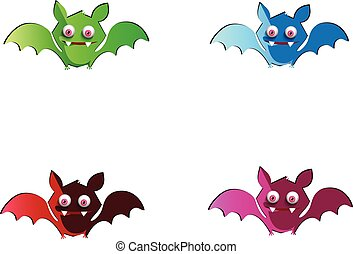 Vector set of cute funny multi colored bats isolated on white background