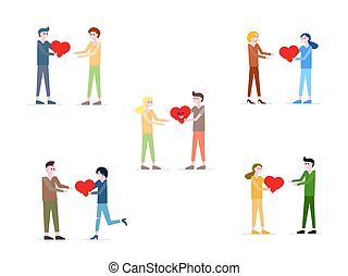 Vector set of cute illustration, people giving love, red heart to each other