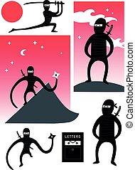 Vector set of cute ninjas - Vector set of cute cartoon...