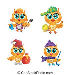 Vector set of cute owls. Cartoon characters  different professions.
