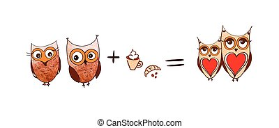 Vector set of cute owls. Coffee concept. Cartoon owls isolated on white background.