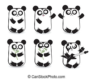 Vector set of cute pandas
