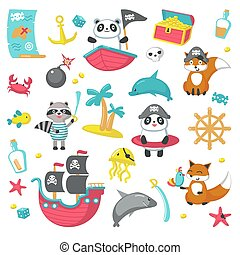 Vector set of cute pirate animals and marine items