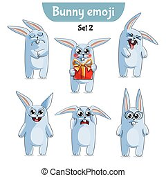 Vector set of cute rabbit characters. Set 2