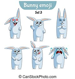Vector set of cute rabbit characters. Set 3