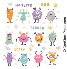 Vector Set of Cute Scary Halloween Monsters.