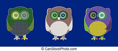 Vector set of cute textile owls