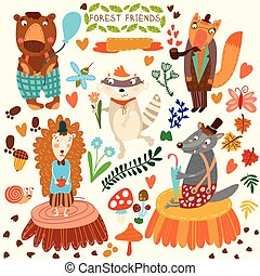 Vector Set of Cute Woodland and Forest Animals. Bear, hedgehog, fox, wolf, raccoon,mosquito, snail, butterfly.