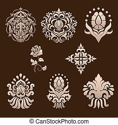 Vector set of damask ornamental elements. Elegant floral...