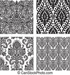 Vector Set of Damask Patterns - Set of detailed repeating...