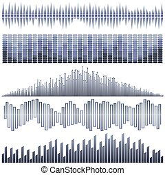 Vector set of dark blue sound waves. Audio equalizer. Sound & audio waves